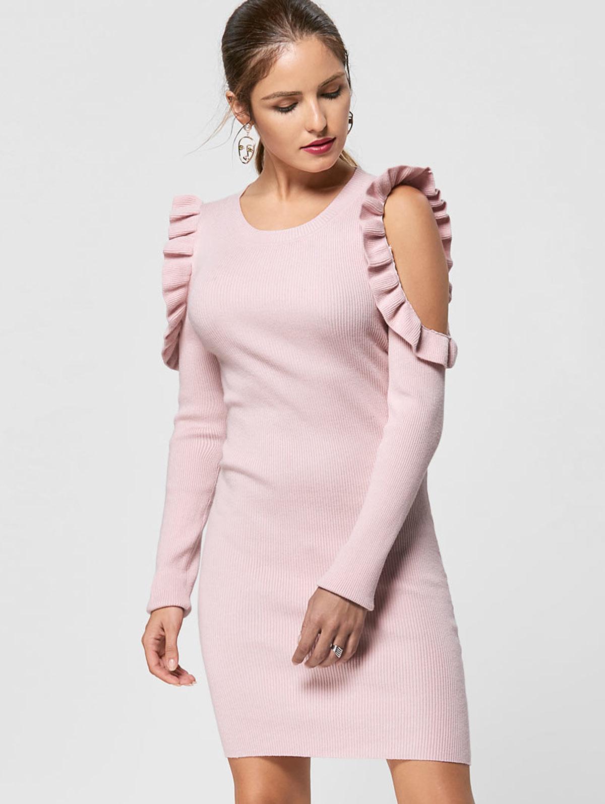Kenancy Women Ruffle Trim Cold Shoulder Jumper Dress O Neck Full Sleeve Off  Shoulder Knit Sweater Dress Slim Bodycon Dress e93c3a94b9a3