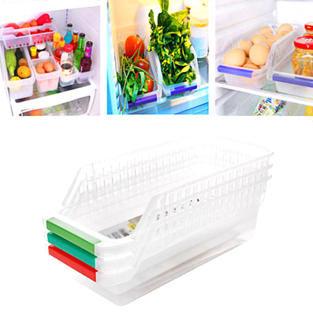 Big Sale 1Pcs Household Refrigerator Plastic Storage Box fresh spacer layer Container For The Kitchen Tool