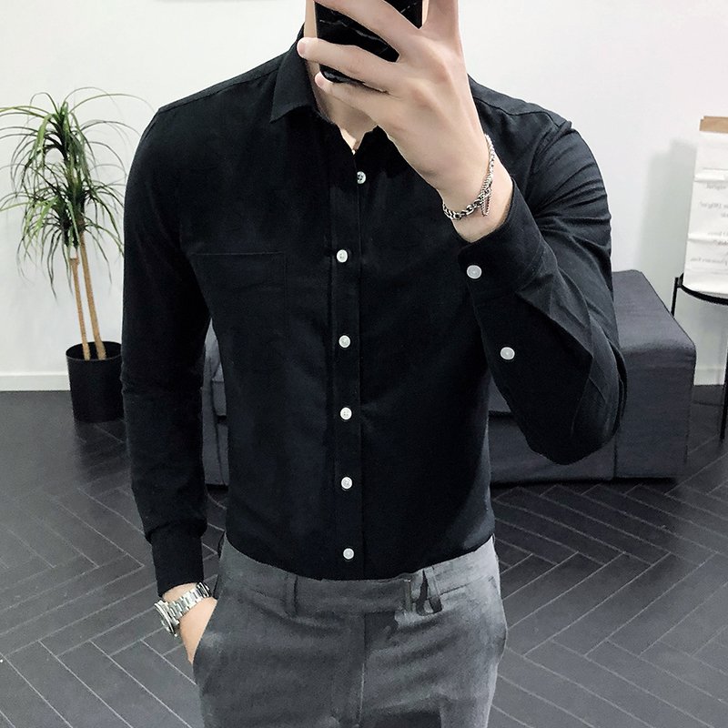 2019 Men Wedding Shirt Long Sleeve Men Dress Shirts Man Business Party Solid Casual Shirt Work Wear Formal Slim Male Shirt