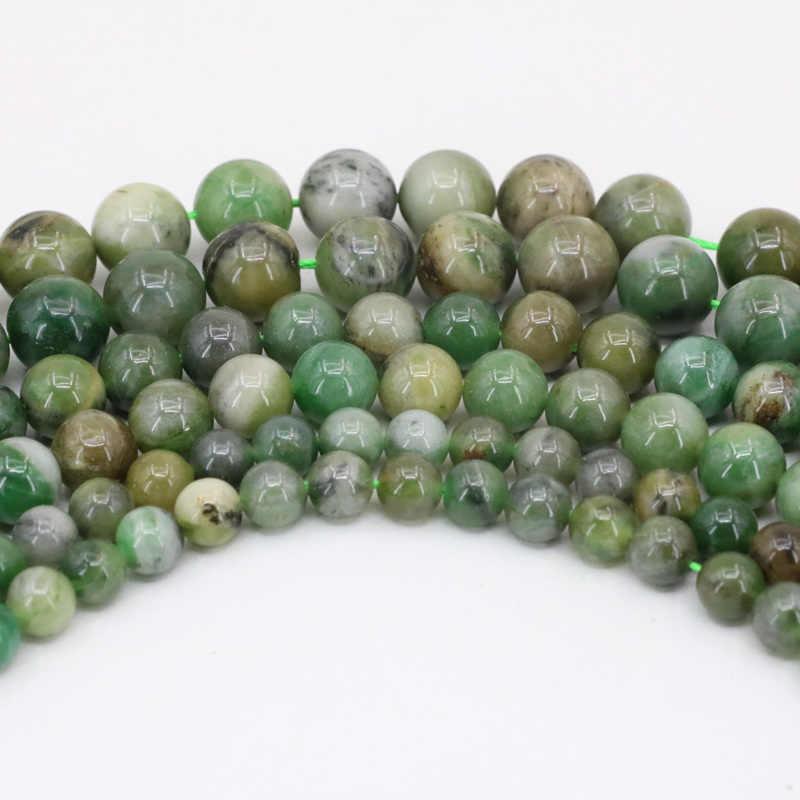 """Afrique naturelle pierre jades ronde 6mm 8mm 10mm perles vertes jaspers perles en vrac pour la fabrication de bijoux résultats accessoires 15 """"B3472"""