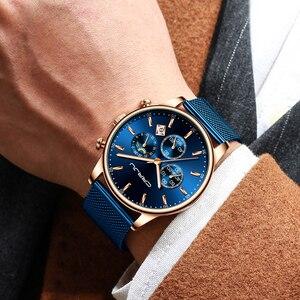 Image 5 - CRRJU Reloj de pulsera deportivo para hombre, cronógrafo de malla, informal, resistente al agua, con fase lunar, color azul