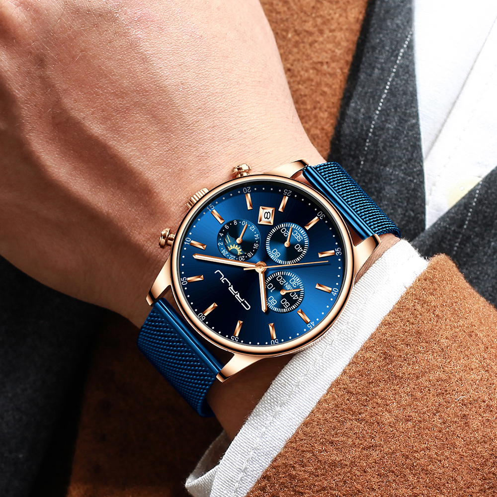 Image 5 - Top Luxury Brand CRRJU Men Watch Fashion Chronograph Mesh Strap Watch Casual Blue Waterproof Sport Wristwatch with Moon Phase-in Quartz Watches from Watches