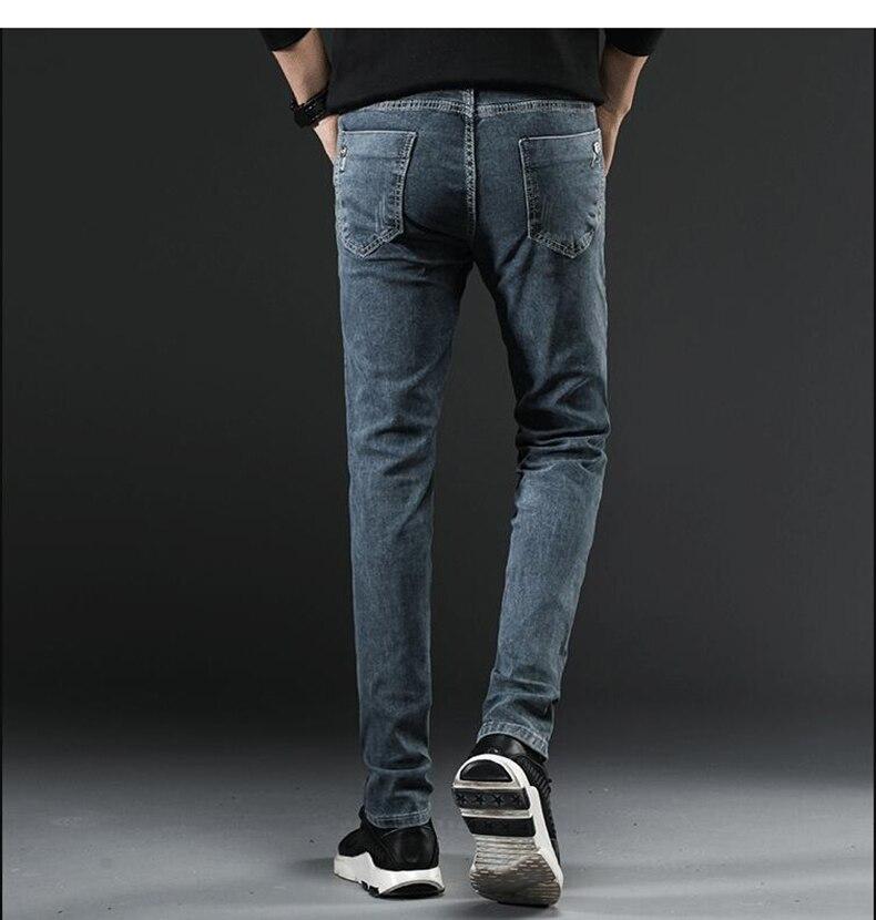 KSTUN Skinny Jeans Men Warm Thicken Pencils Pants Grey Heat Insulated Fashion Pockets Buttoms Boys