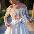 A Line Boat Neck Long Sleeve Off The Shoulder Sexy Elegant White Satin Pearls Flower Appliques Top Long Bride Evening Dresses