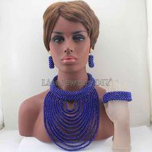 New Big Chunky Women Gift African Jewelry Set Royal Blue Nigerian Wedding Beads Crystal Bridal Jewelry Sets Free Shipping HD7842