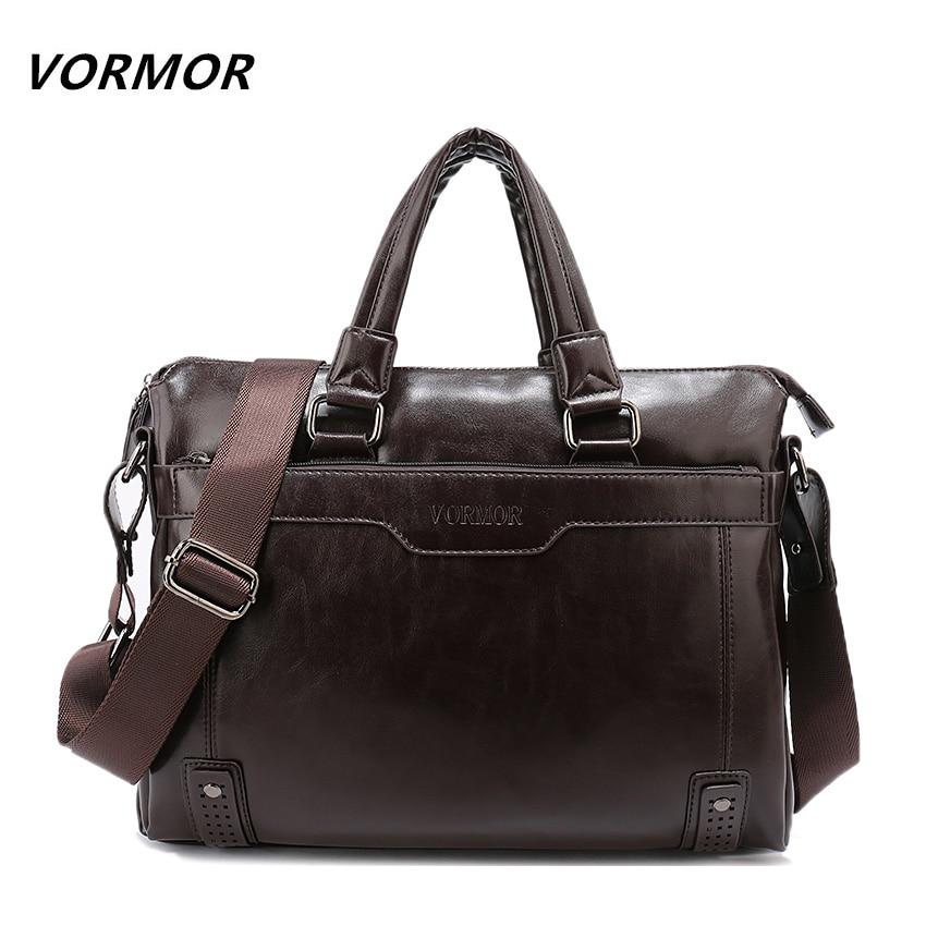 VORMOR Official Store VORMOR New Leather Men's Handbag Business Men Briefcase Bag Large Capacity Shoulder Tote Bags Rivet Hollow Bottom Man Laptop Bag