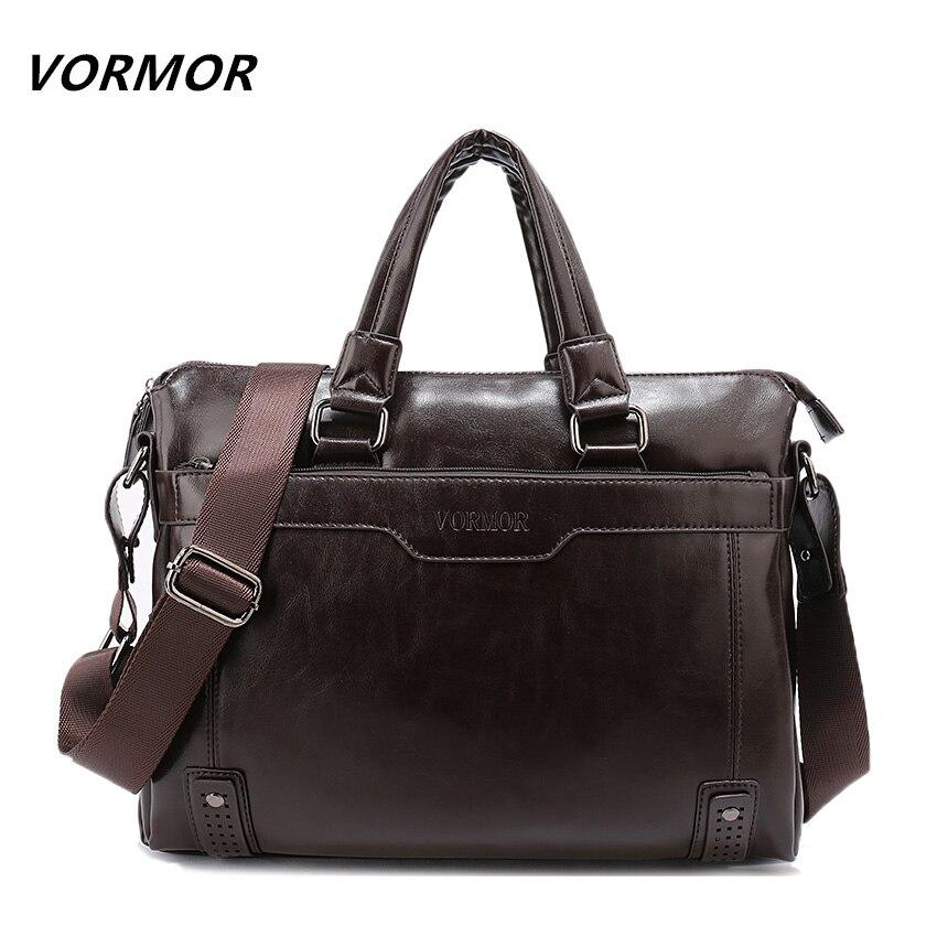 VORMOR New Leather Men's Handbag Business Men Briefcase Bag Large Capacity Shoulder Tote Bags Rivet Hollow Bottom Man Laptop Bag