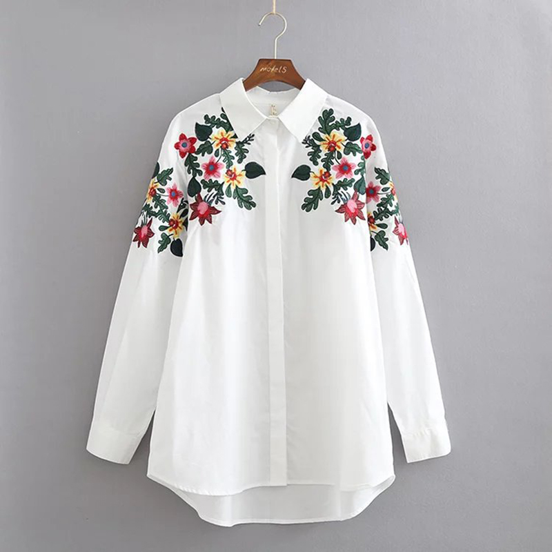 Embroidered Blouse Shirt Tops 2018 For Women Female Ladies Elegant Blouse Shirt With Embroidery Womens Tops And Blouses FF1325 L