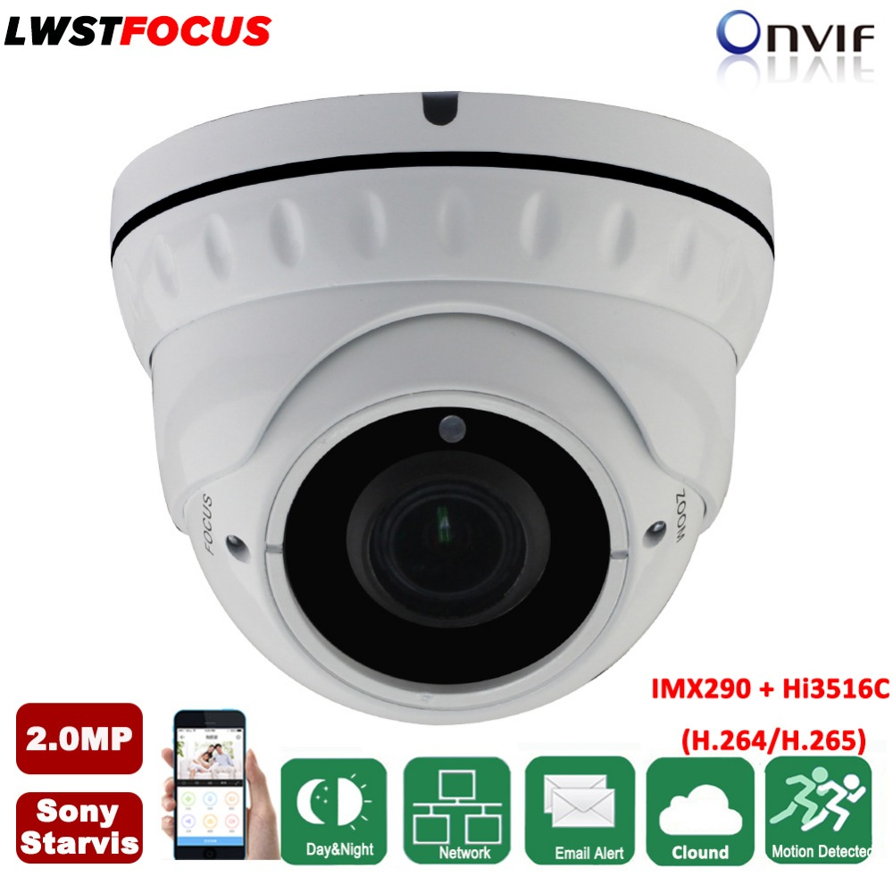 Varifocal 2.8-12mm lens Sony Starvis POE 2MP IP Camera 1080P H.265/H.264 IR 20M Full HD Camera Security IP Camera System ONVIF 2 8 12mm varifocal sony starvis imx290 hi3516c 2mp ip camera 1080p h 265 h 264 outdoor ir cctv dome security camera poe onvif