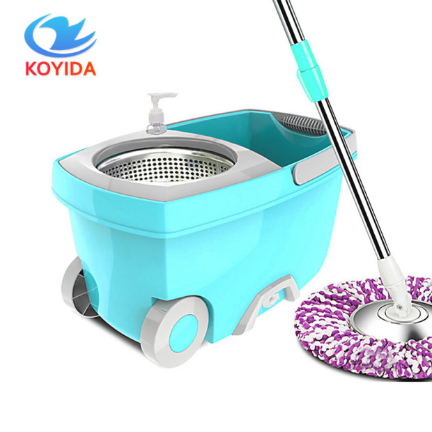KOYIDA spin <font><b>Mop</b></font> bucket Portable Magic double drive Stainless steel hand pressure rotating with head household floor cleaning set