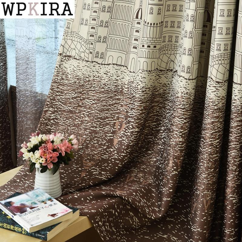 Занавес Для Гостиной Детская Спальня Мультфильм Морской Замок Печатных Вуаль Занавески для Детей Шторы Ткань Тюль Cortinas 230 & 20