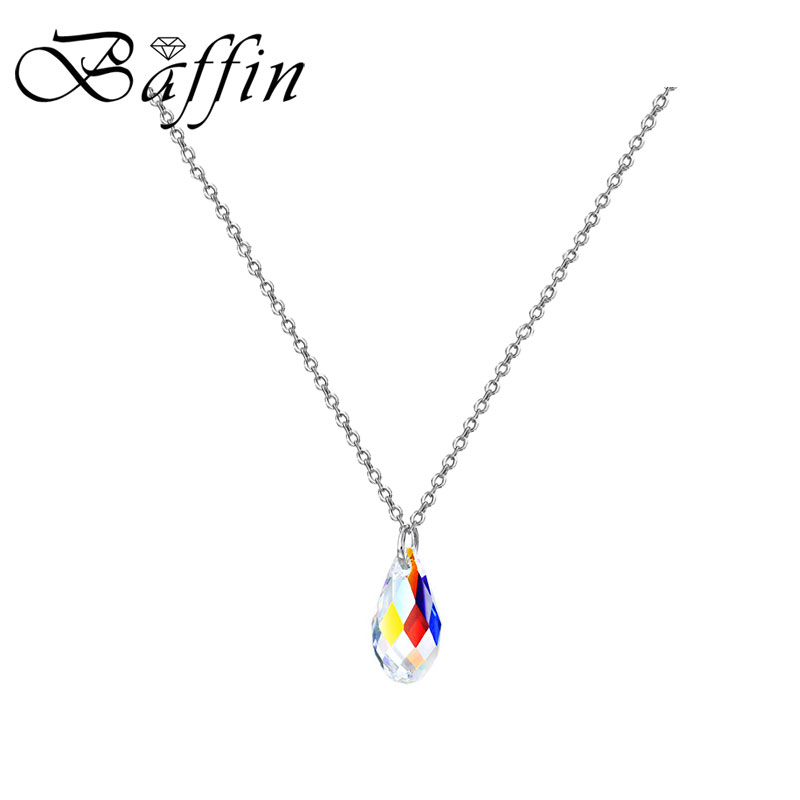 BAFFIN Simple Beautiful Drop Shape Pendant Necklaces Crystals From SWAROVSKI Silver Color Mini Waterdrop Collare For Women 2018 цены