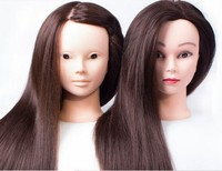 CAMMITEVER Brown Hair Hair Mannequins Hairdressing Styling Makeup Training Model Female Mannequin Head Practice With Free