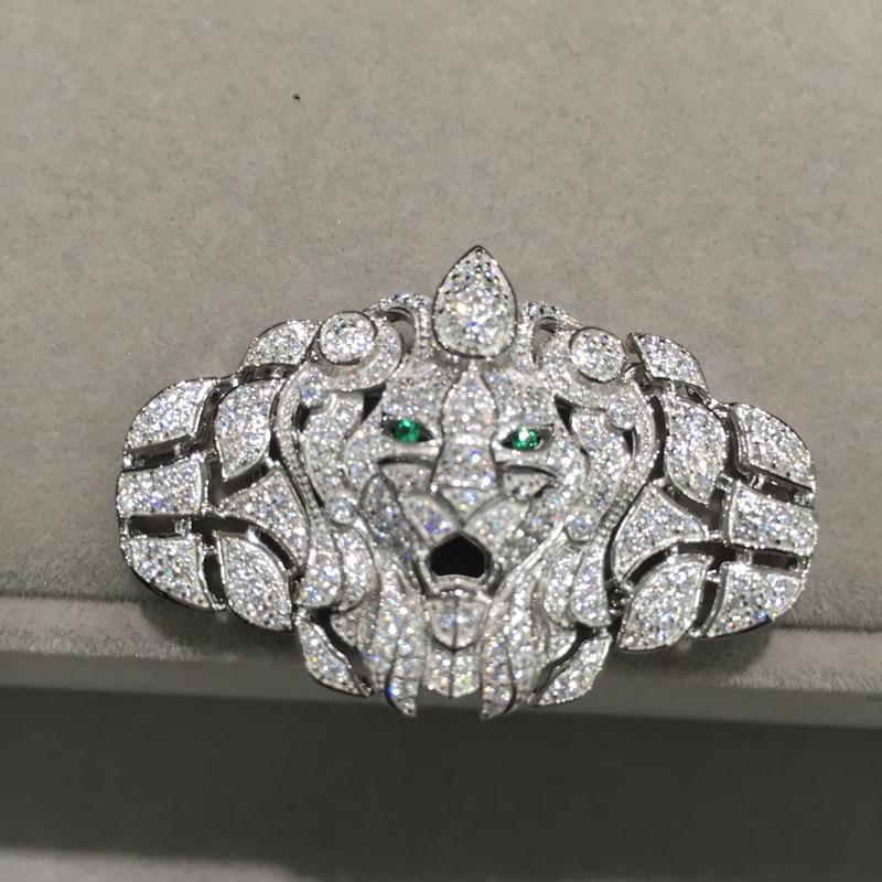 Résultats de bijoux et composants connecteurs pour collier Lion Animal 925 argent Sterling avec Zircon cubique mode femmes bijoux