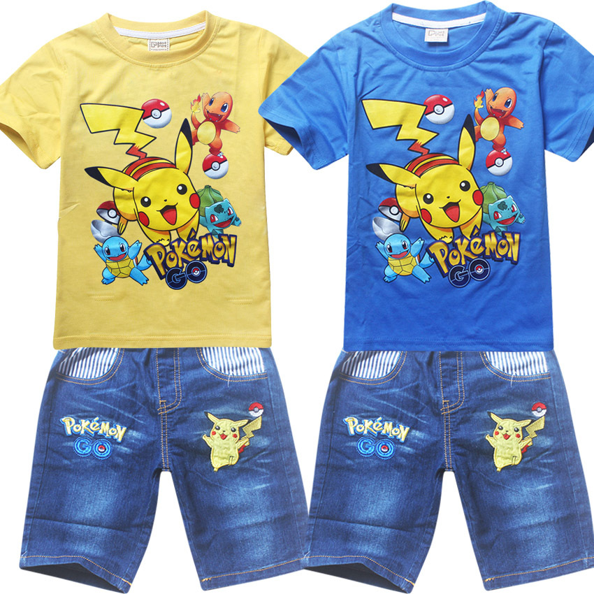2018 New Baby Boys Clothing Sets Pokemon Go Short Sleeve T-Shirt+Jeans Set Summer For girls Cartoon Pikaqiu Baby Leisure Suit
