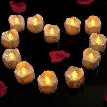 Пластиковые Желтые мерцающие электрические свечи без пламени для украшения чая на Рождество, Хэллоуин, свадьбу