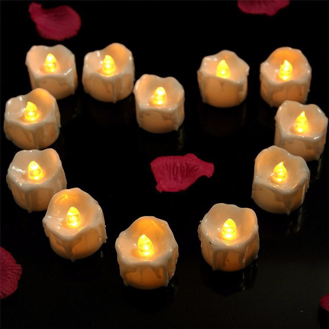 plastic yellow flicker battery electric candles flameless tea lights for christmas halloween wedding decoration