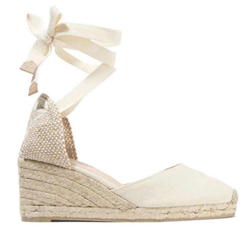 8197c5fd ... Las mujeres correa de tobillo botas cuña sandalias de verano 2018 de  tacón alto de encaje ...