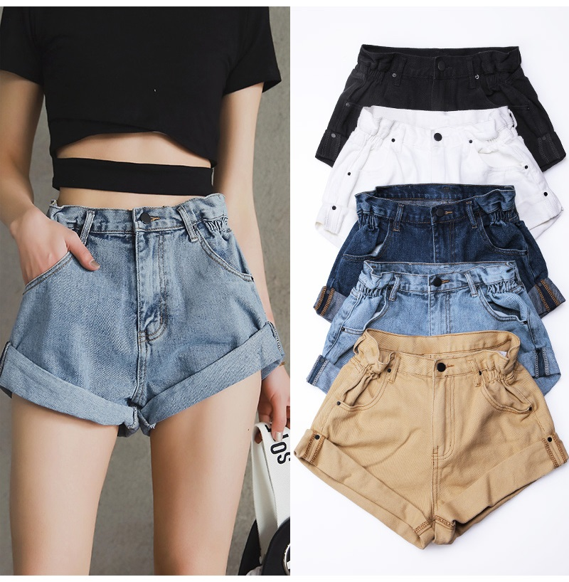 HTB1rsZEPmzqK1RjSZPxq6A4tVXai - Streamgirl Denim Shorts Women's White Women Short Jeans Khaki Wide Leg Elastic Waist Vintage High Waist Shorts Women Summer