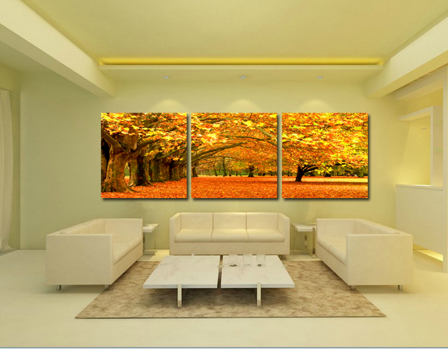 3 pieces autumn landscape wall art painting for home decoration ...