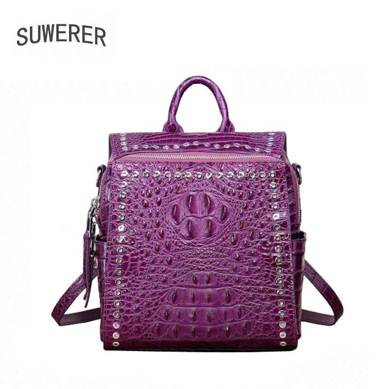 SUWERER New Genuine Leather backpack women luxury backpack women bags Top cowhide Crocodile grain women backpack fashion bag цена