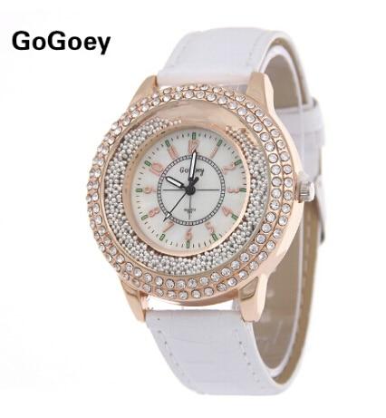 Luxury Brand Leather Crystal Quartz Watch Women Ladies Fashion Bracelet Wrist Watch Wristwatches Clock Female Relogio Feminino