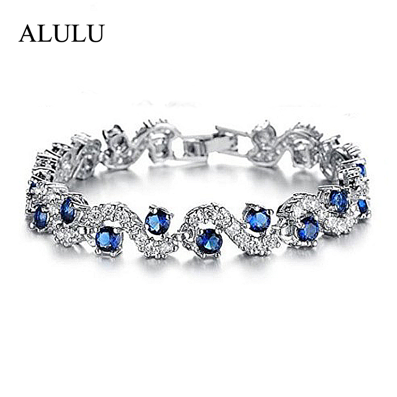 Luxury Blue Crystal Bracelet For Wedding Silver Bracelet Rhinestone Charm Women Bangles Jewelry Pulseira Feminina BR520 gorgeous rhinestone square star bracelet for women