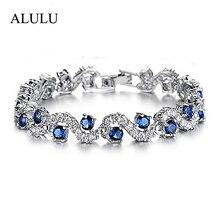 Luxury Blue Crystal Bracelet For Wedding Silver Bracelet Rhinestone Charm Women Bangles Jewelry Pulseira Feminina BR520