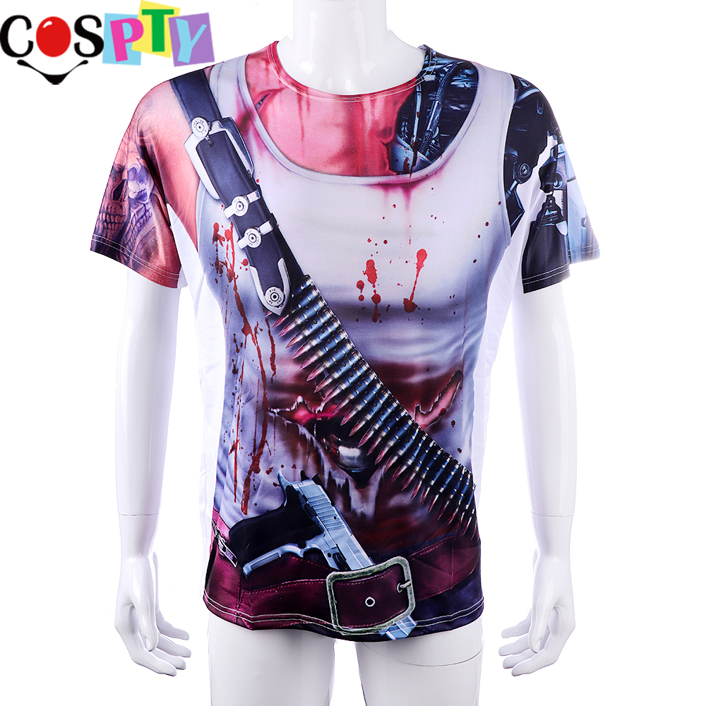 Adults Doctor Printed T-Shirt Zombie Mask Fake Blood Halloween Horror Accessory