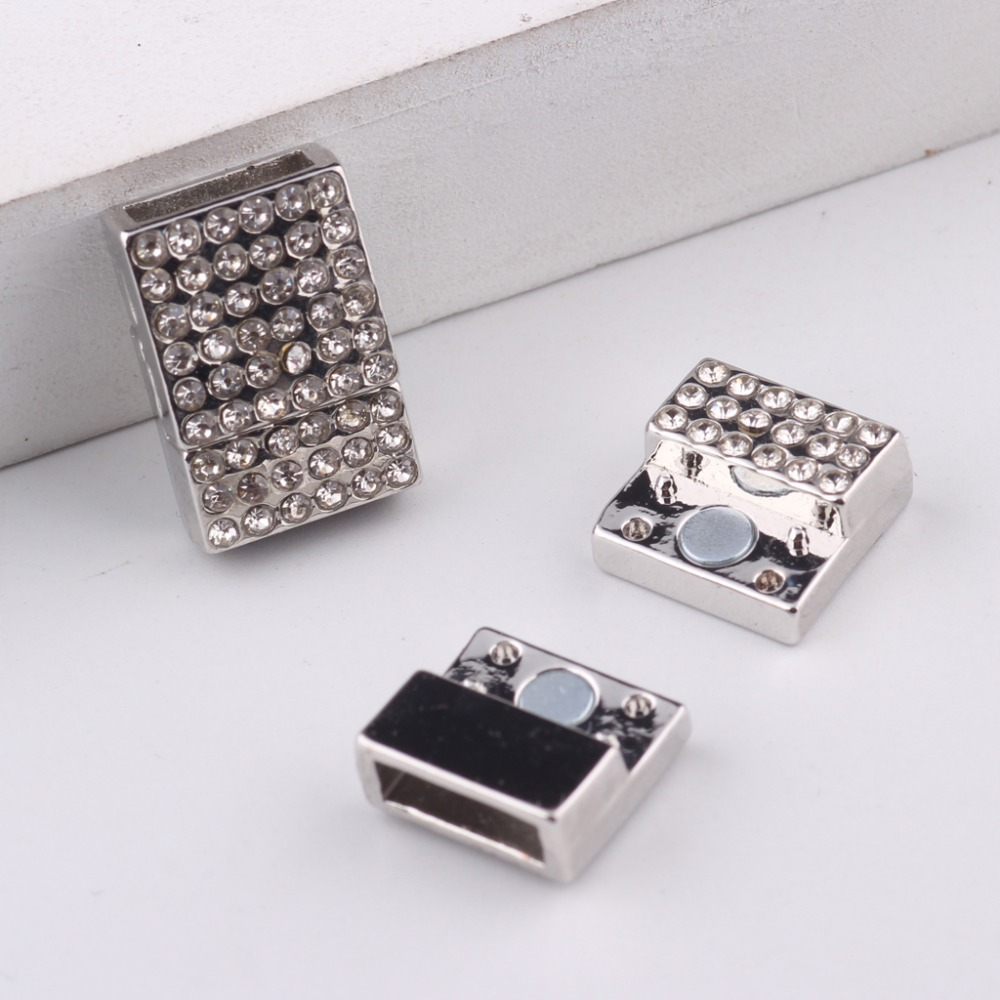 Reidgaller 5pcs Rhinestone Magnetic Clasps For Leather Bracelet 10*3mm  Inner Size Diy Necklace Jewelry Making Supplies