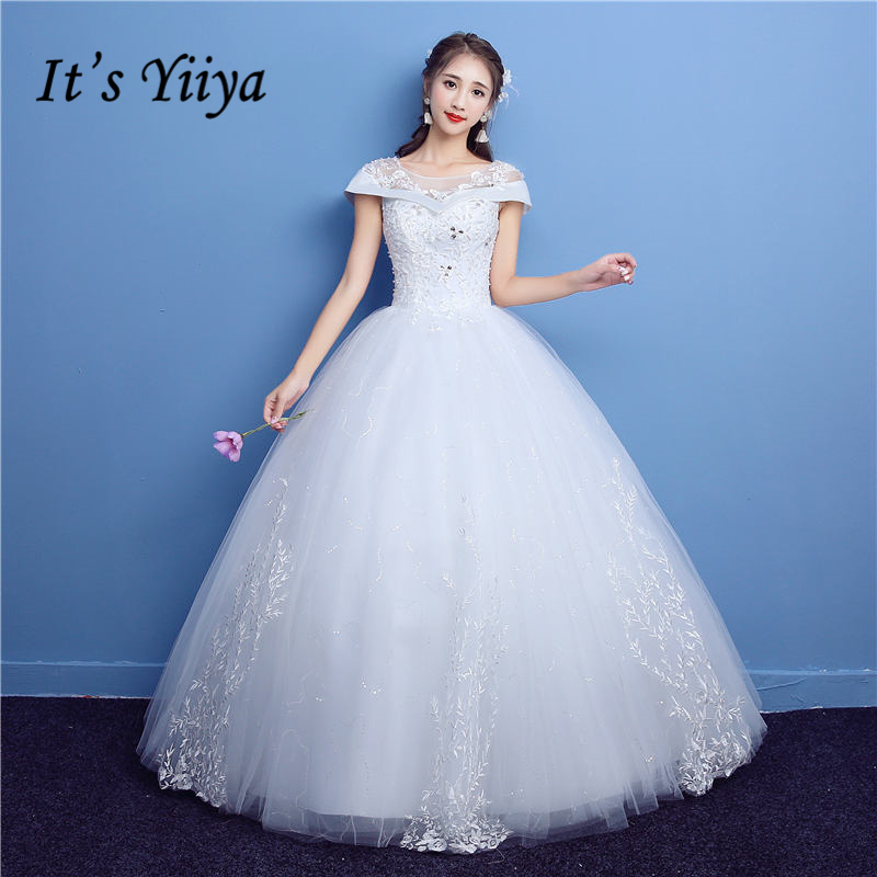 Plus Size Wedding Gown Patterns: It's YiiYa Off White Short Sleeve O Neck New Wedding Gowns