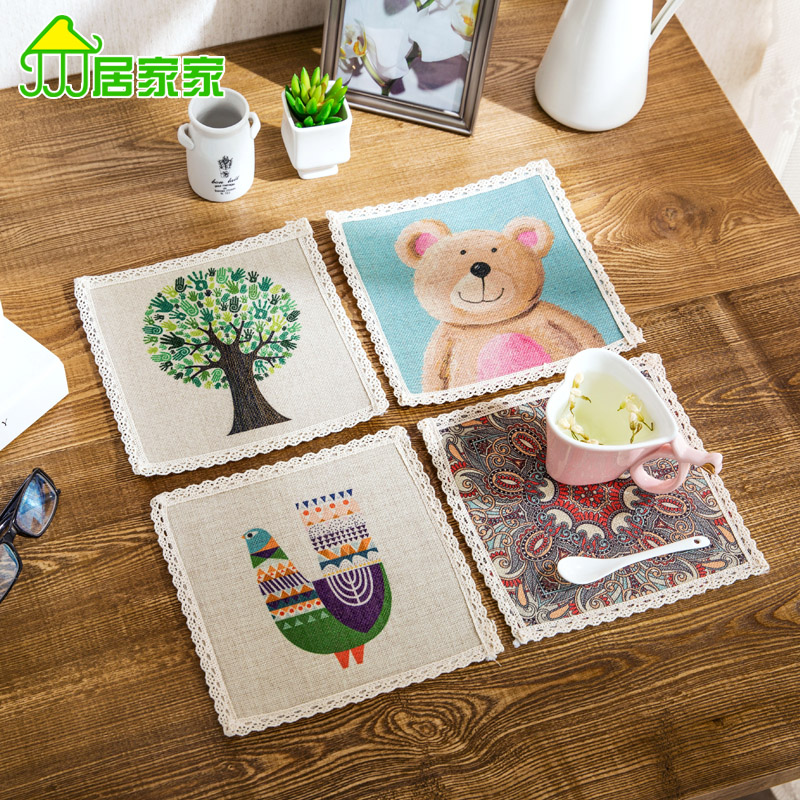 Continental simple cotton cloth potholders placemats, table mats bowl creative thick mat coasters insulation pad