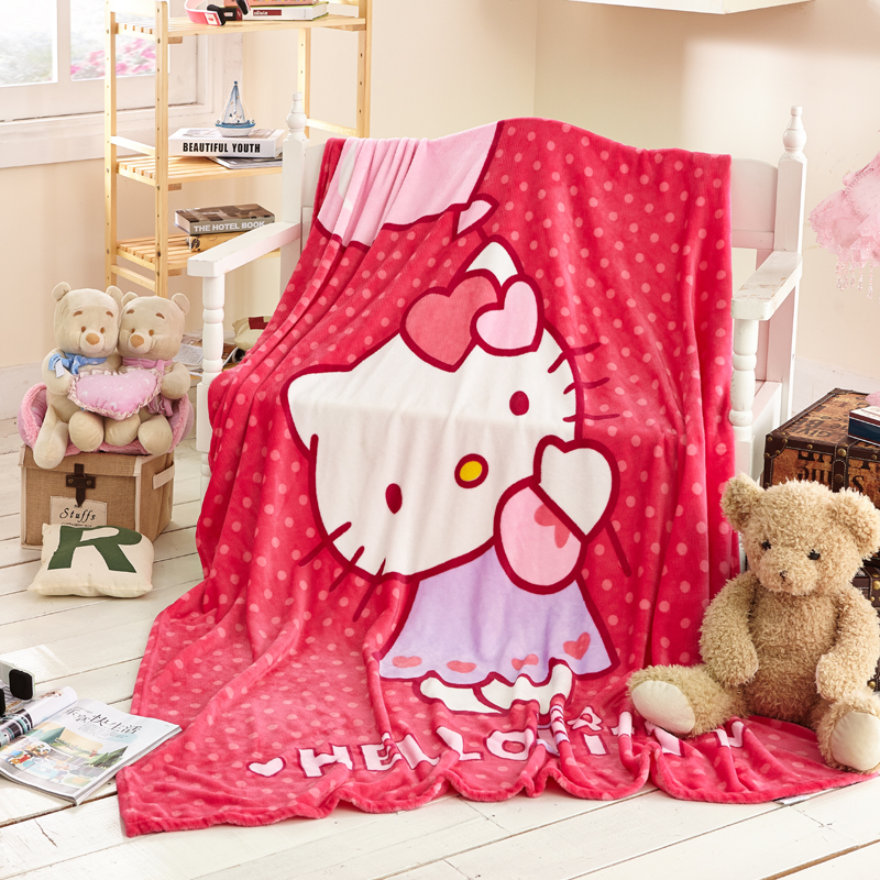 Hello Kitty Blanket Cartoon Blankets Plush Fleece Blanket Bed Throw Blanket on The Bed/Sofa/Car Queen 150x200cm Free Shipping