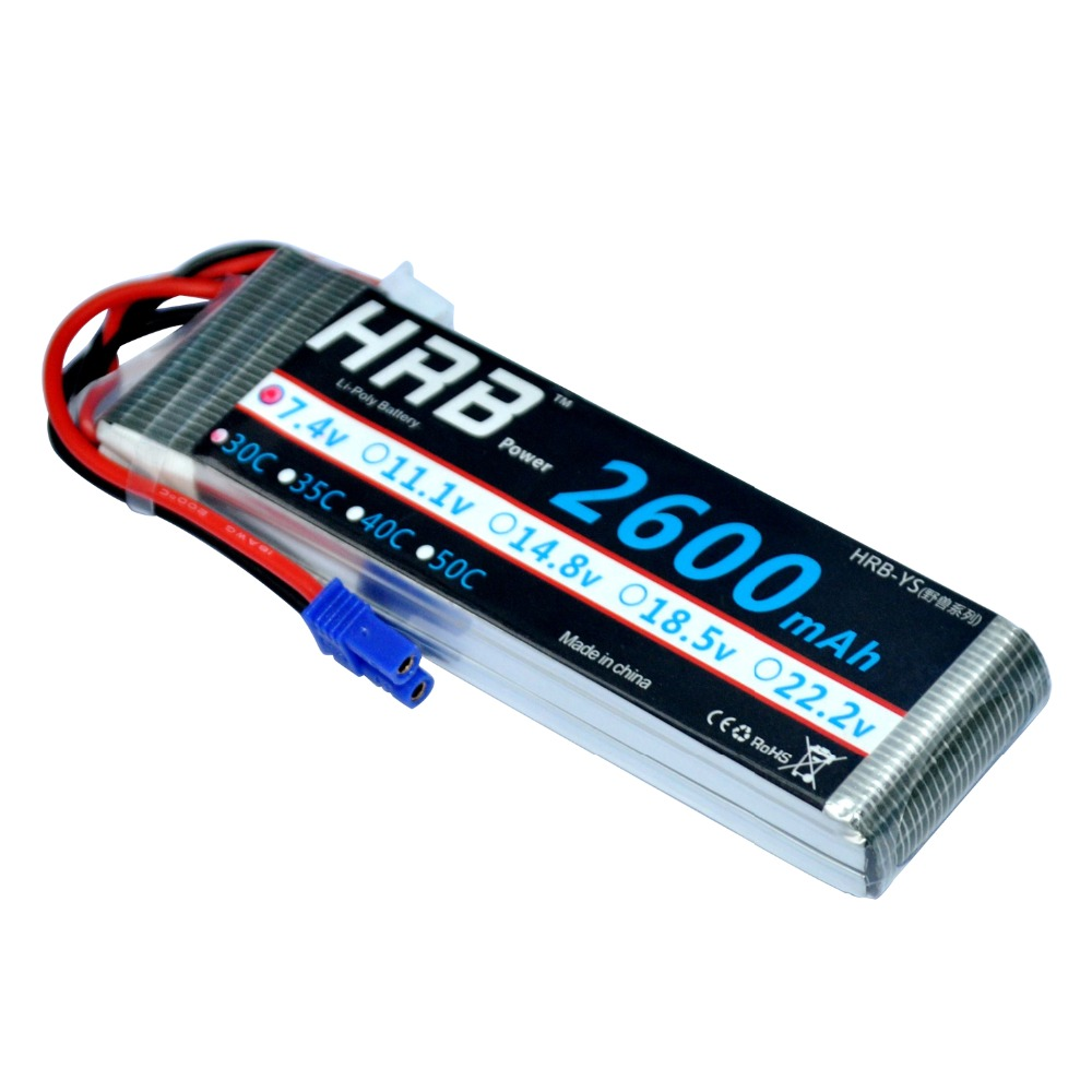 HRB Drone Lipo Battery 7.4V 2600mah 30C Max 70C 2S for Hubsan H501S RC airplane 1s 2s 3s 4s 5s 6s 7s 8s lipo battery balance connector for rc model battery esc