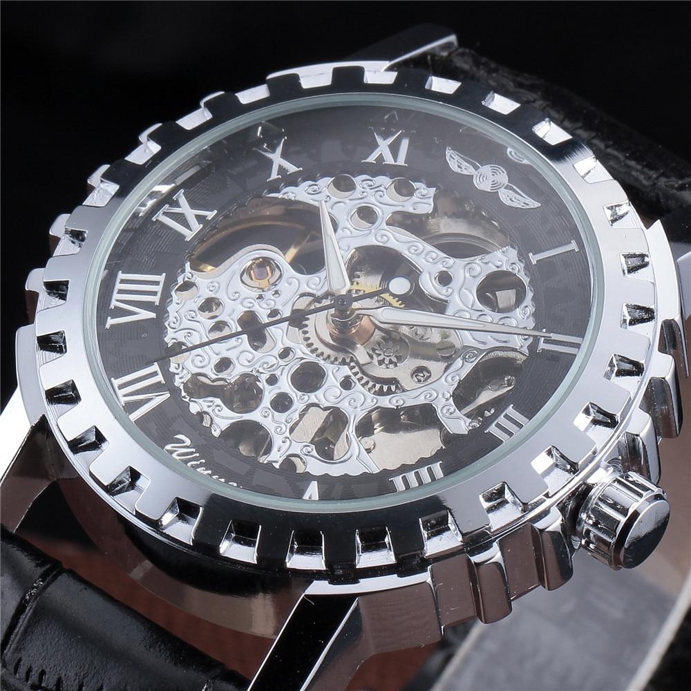 цены на WINNER Brand Leather Band Men Male Military Clock  Skeleton Mechanical Hand Wind Watch Vintage Luxury Quality Gift Steampunk в интернет-магазинах