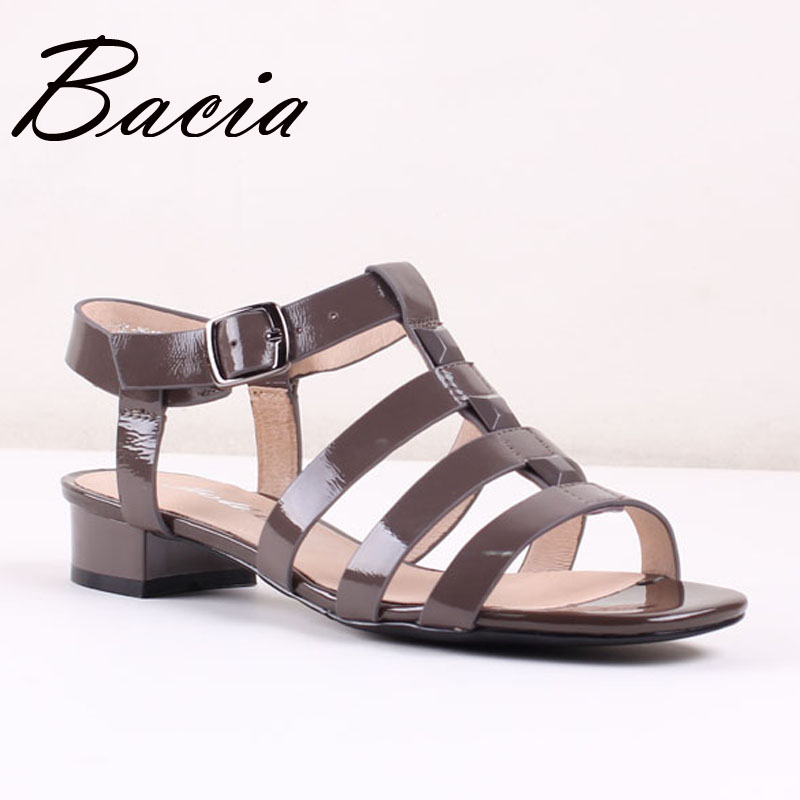 ФОТО Bacia Genuine Leather Sandals Low Square Heel Summer Shoes Very Comfortable Style For Women Size 35-41 Black Quality Shoes SA031
