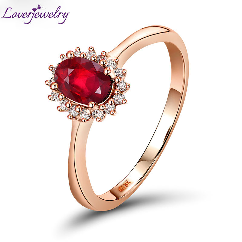 New Oval 4x6mm Red Ruby 18kt Rose Gold Natural Diamond Engagement Ring Fine Jewelry for Women Wedding Gift WU0128 цена