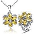 Lujo de la piedra preciosa colgante y anillo de cristal citrino natural sólido 925 plata amarillo citrino piedra joyería conjunto romántico regalo