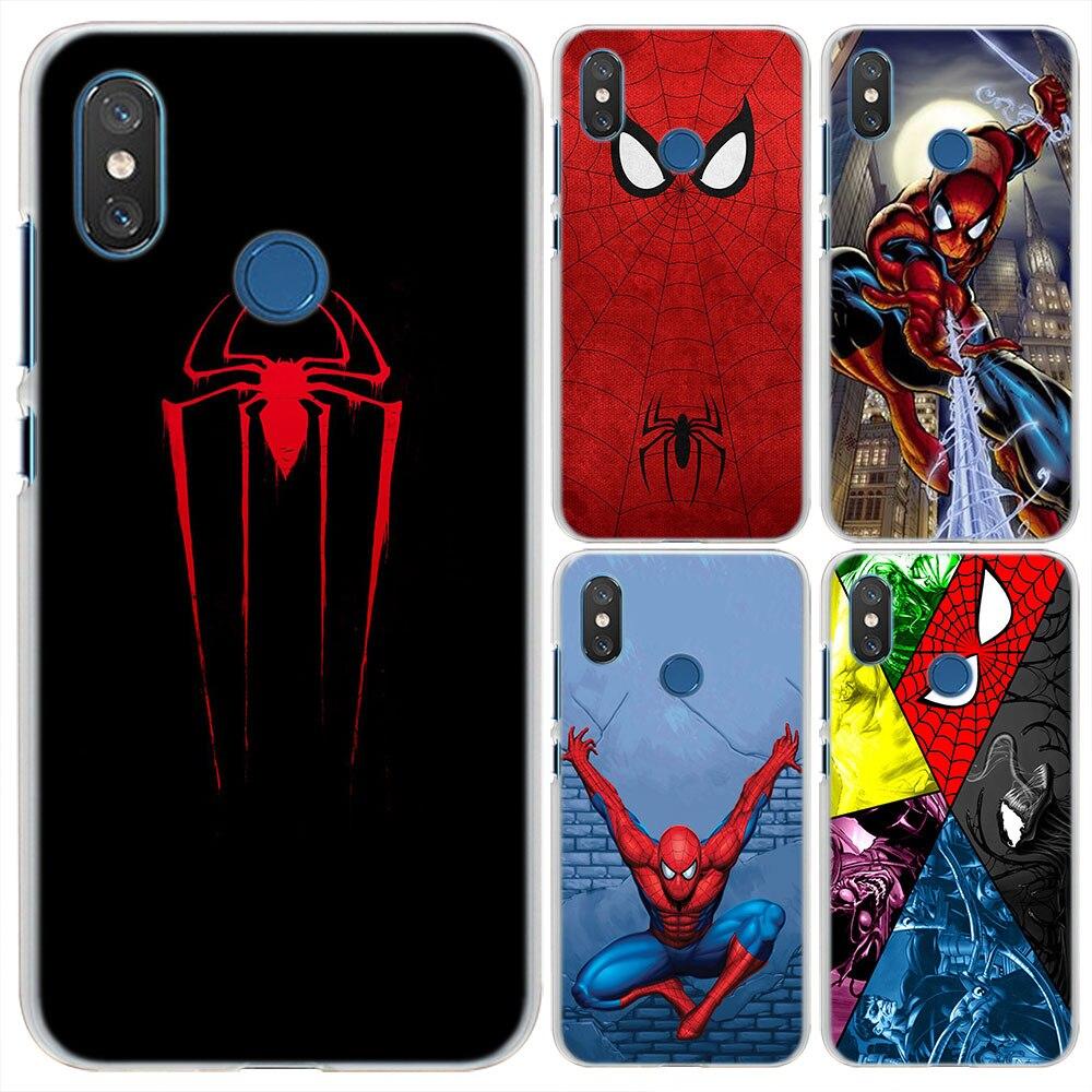 Spider Man Pattern Transparent Hard Phone Cases Cover for Xiaomi Mi 5X(A1) 6X(A2) 8 SE for Redmi S2 4X 5A 5 Plus 6 6A