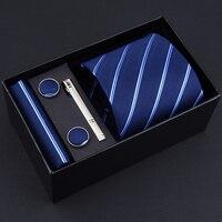 Cadeau Boîte D'emballage 3.35 pouce (8 cm) large Cravate Ensemble Pour Hommes Mouchoir Bouton De Manchette Homme Cravate Formelle D'affaires Cravates De Mariage Marié