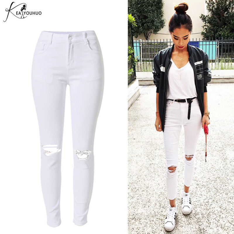 2018 High Waist White Denim Hole Ripped Jeans Female Jean Slim Pantalon Femme Summer Pencil Pants For Women Jeggings Trousers