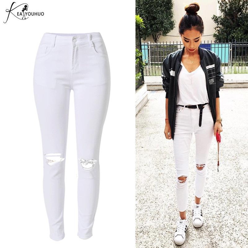 95a0dbea9e 2018 cintura alta Denim blanco agujero vaqueros Mujer Jean Slim Pantalon  mujer de verano lápiz pantalones para mujeres chándal Pantalones en  Pantalones y ...