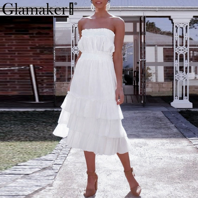 Glamaker Sexy two-piece white strapless split dress Women ruffle sleeveless long dress Female elegant beach party dress Vestidos