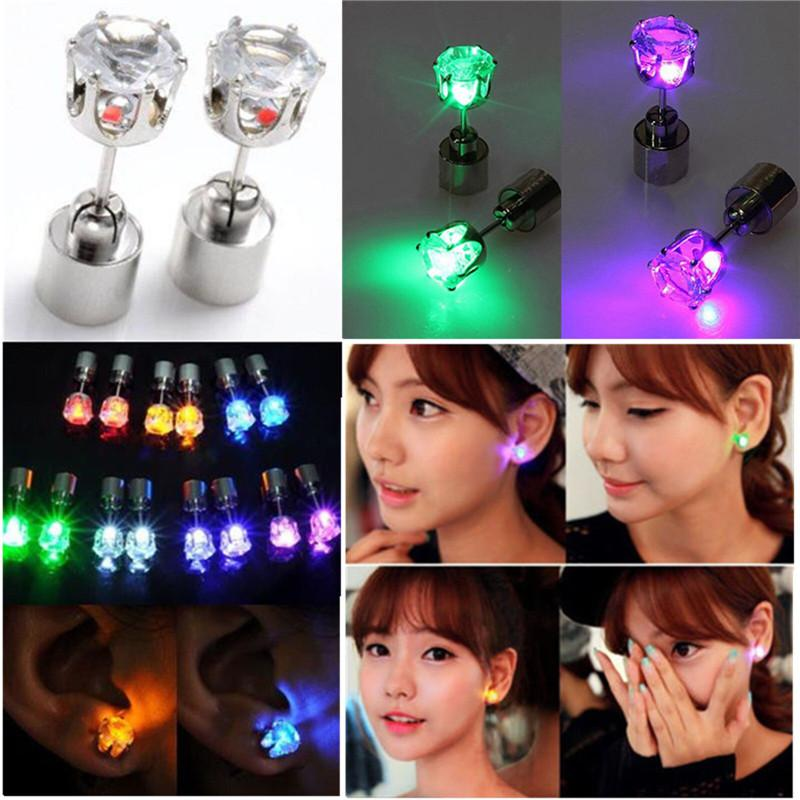 1 Pair Light Up Toys LED Earrings Studs Flashing Blinking Stainless Steel Studs Dance Party Fashion Accessories Unisex For Girls