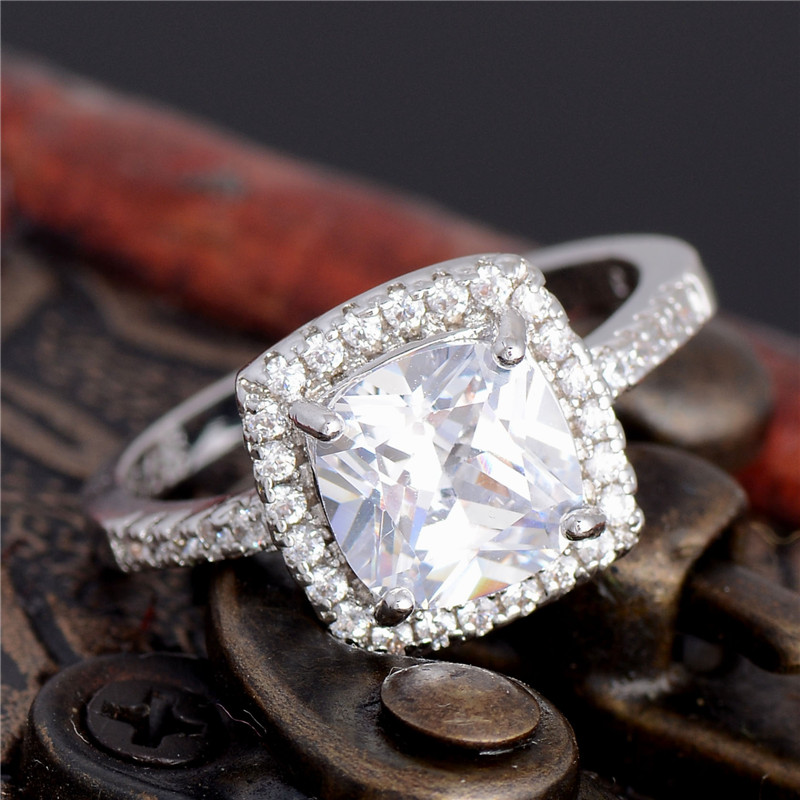 hhyde new arrival clear huge cubic zircon stone square arround crystal wedding rings for