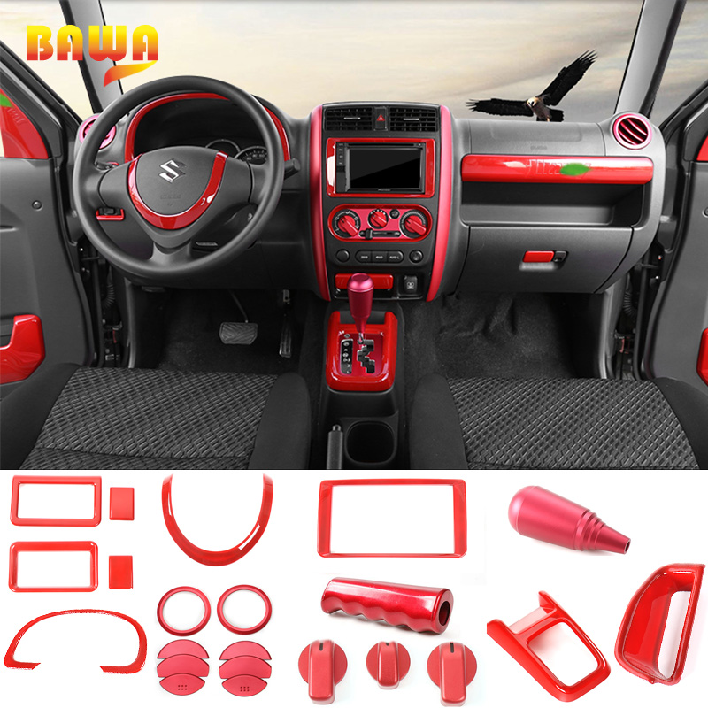 BAWA Interior Mouldings For Suzuki Jimny 2007-2017 Red Center Control Panel Cover For Suzuki Jimny Interior Decoration Kit
