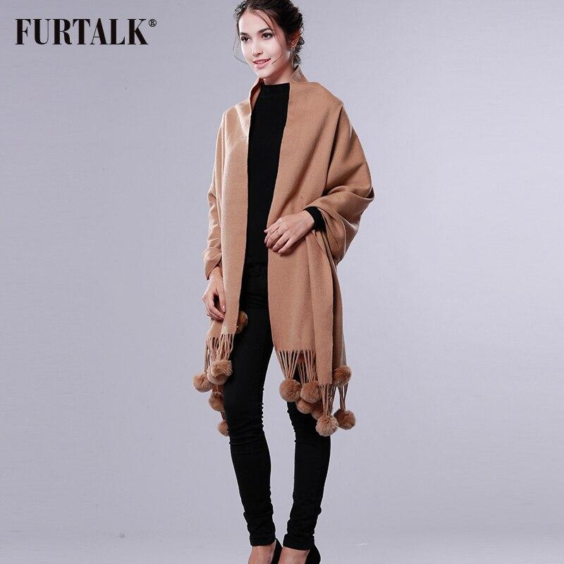 FURTALK Cashmere Wool Pashmina Cashmere Shawl Women Winter Long Warm Fur Scarf Rex Rabbit Fur Pom
