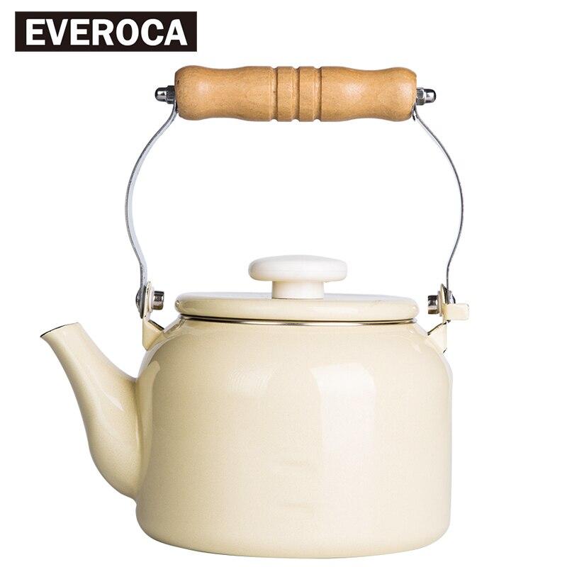 Enamel Water Kettle Coffee Tea Pot Iron Cream Wood Handle Water Pot