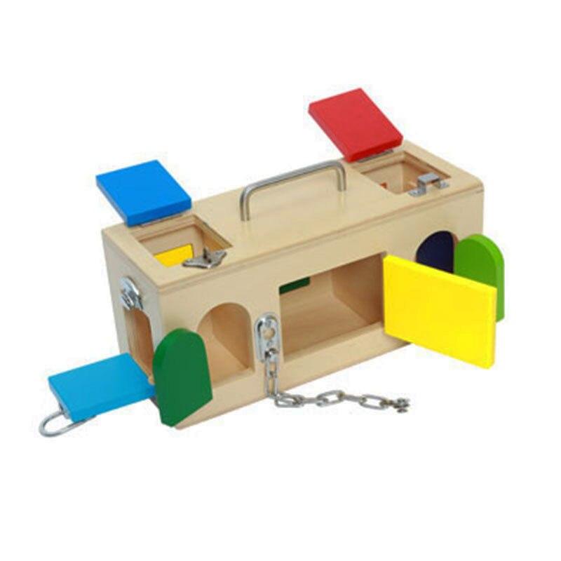 Boîte à serrure en bois Montessori matériel sensoriel jouets éducatifs préscolaires d'apprentissage pour 3 ans cadeau d'anniversaire E1864H
