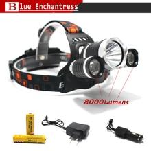 Best C-XM-L T6 8000 Lumen LED Headlamp Headlight Caming Hunting Head Light Lamp 4 Modes+2*18650 5000mah Battery + AC/Car Charger